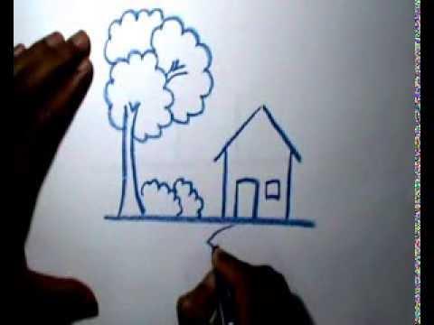 Belajar Menggambar Rumah Dengan Crayon Youtube