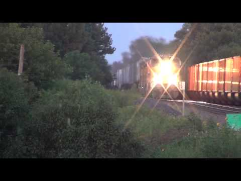 Screaming Union Pacific intermodal passes 2 coal trains