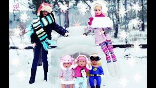 Rodzinka Barbie ❄ Ferie na śniegu Iglo i sanki ❄ Bitwa na śnieżki ❄ Bajka po polsku odc.56