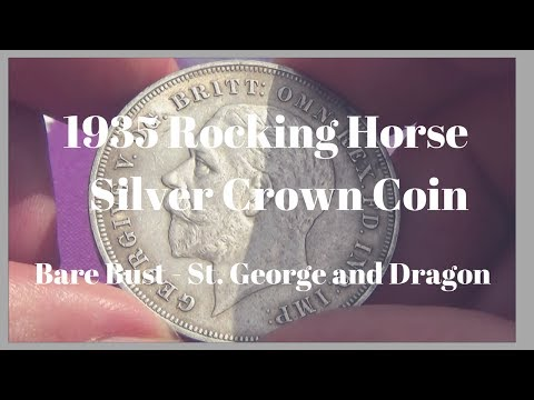 1935 Rocking Horse Silver Crown Coin   Bare Bust   St  George and Dragon