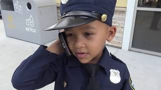 COPS AND ROBBERS - JAKE ARRESTED (BREAKING INTO CARS) - COP KIDS PATROL