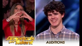 Joseph O'Brien: Heidi Klum LOVES Shy Boy Who's Never Been Kissed! | America's Got Talent 2018