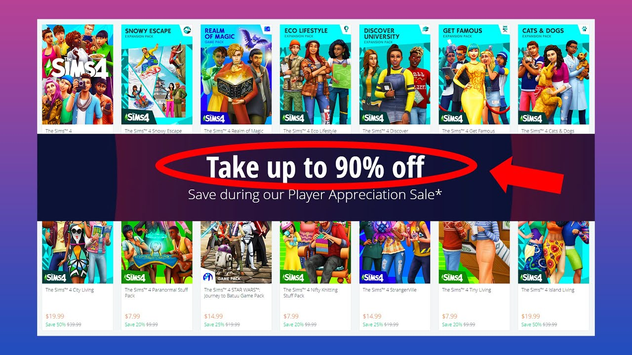 Save up to 90% on select Sims 4 Titles!