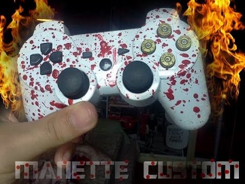 prsentation et speed art manette custom ps3 rouge blanc bullet buttons - Manette Ps3 Color