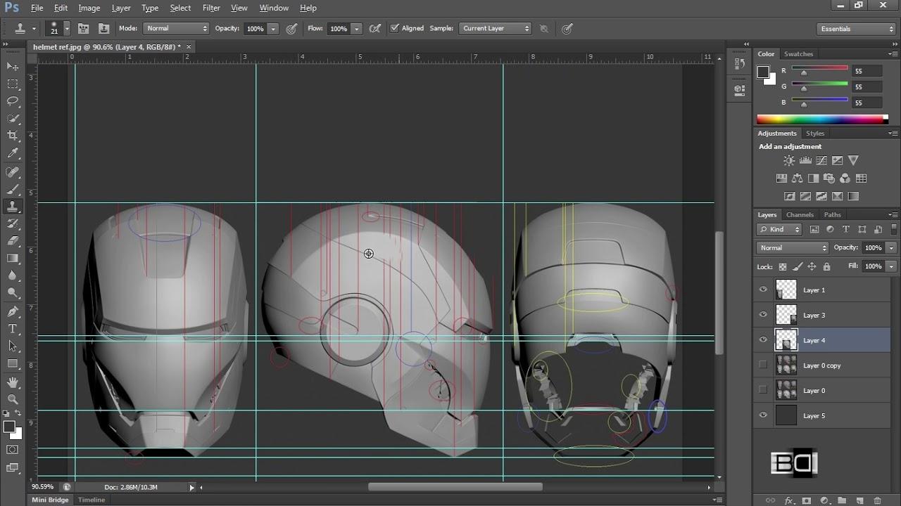 Iron Man Helmet Alignment Blueprint In Photo Modeling Tutorial Part 1 6