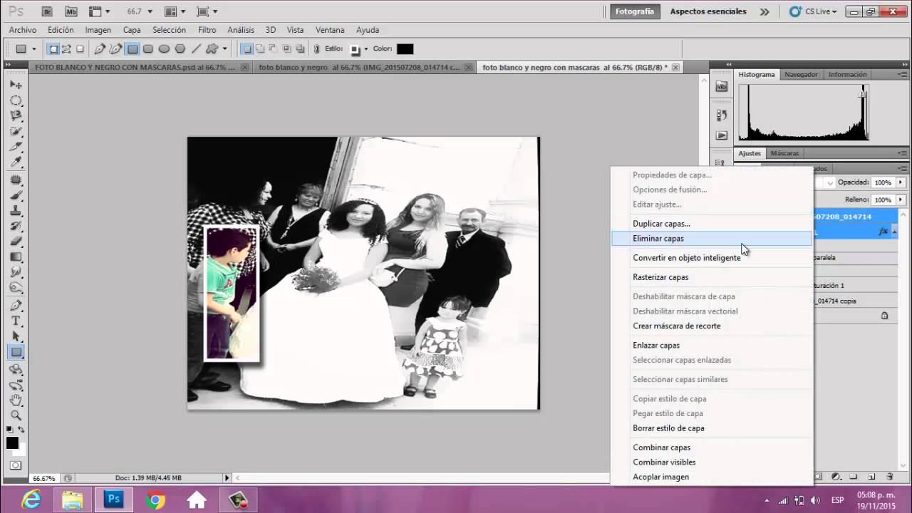 Tutorial Collage Efecto Blanco y Negro Color Adobe Photoshop - YouTube