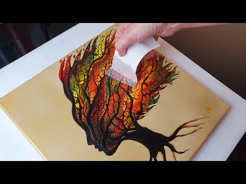 BEAUTIFUL Autumn Tree Woman Acrylic Swipe Painting | ABcreative Pour Tutorial - AB Creative