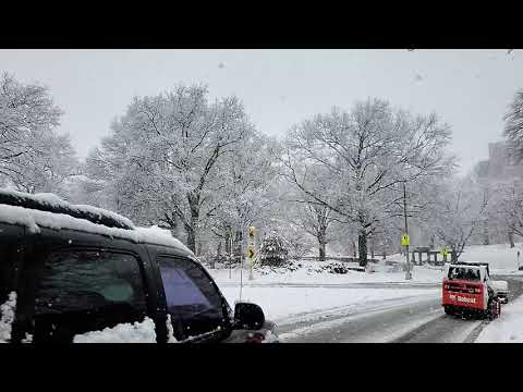 slow motion traffic during snow storm in Fresh meadow New York USA