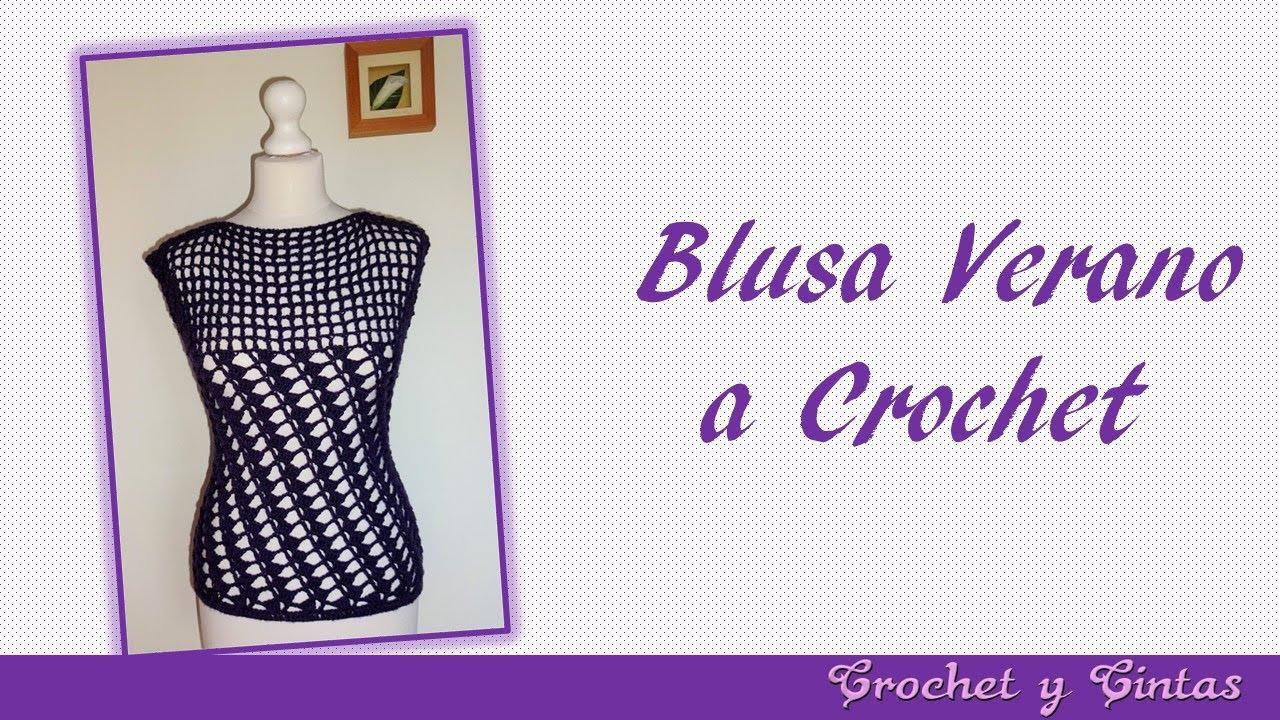 Blusa verano con puntos combinados a crochet para mujer – Parte 1 ...