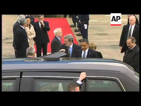 WRAP Obama arrives for NATO summit and EU meeting ADDS handshake, leaders
