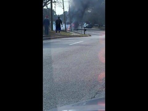 Raw video: Dump truck burns after 3-car wreck in Raleigh