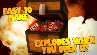 Minecraft Redstone | TNT Chest Trap | Explodes When Opened! (Minecraft Redstone Trap)