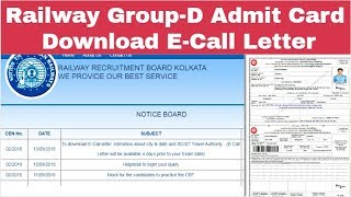 Railway Group-D Admit card E-Call Letter Download Step by step