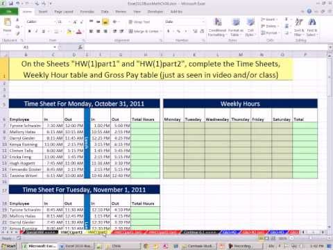Excel 2010 Business Math 44: Payroll Time Sheets, If Function For