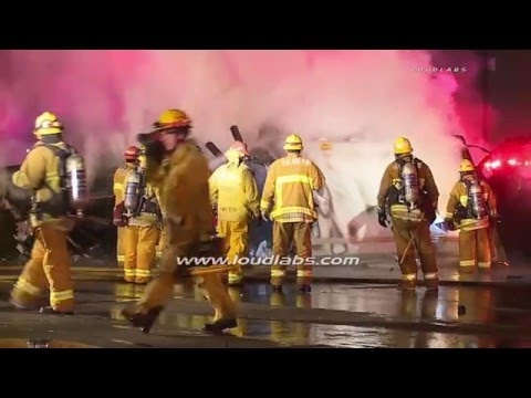 Racing Causes 3 Dead in Fiery 5 Freeway Crash involving UPS Truck / Commerce   RAW FOOTAGE