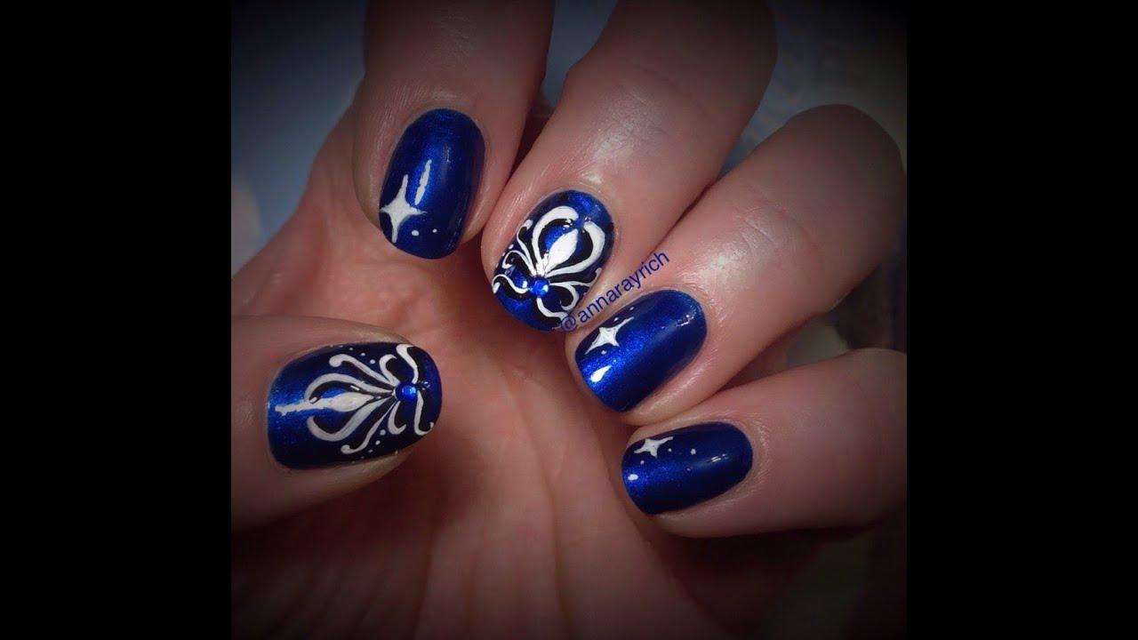 Electric Blue Nail Art Design Youtube