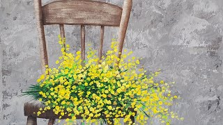 "Beginner Basics Series ""Yellow Floral Chair"" - Easy Acrylic Painting LIVE Tutorial"