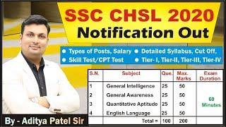 SSC CHSL (10+2) 2020, Notification, Syllabus, Tier-I, II, III, Full Details