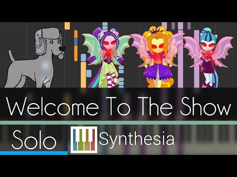 Welcome to the Show - Rainbow Rocks - |SOLO PIANO TUTORIAL w/LYRICS| -- Synthesia HD