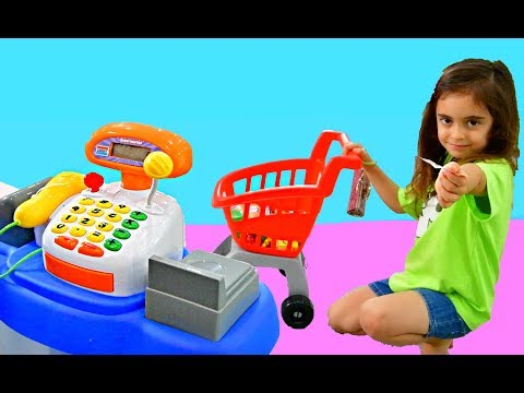 Emily Playing Pretend Supermarket and Cake Shop