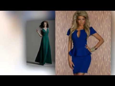 синее платье с вырезом Фото
