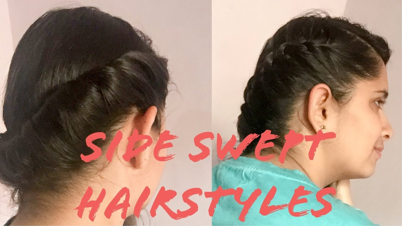2min side swept hairstyle for casual outfits for school , college, university hairstyle