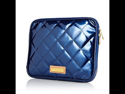 Joy   IMAN Iconic Quilted Patent Zippered Tablet Case