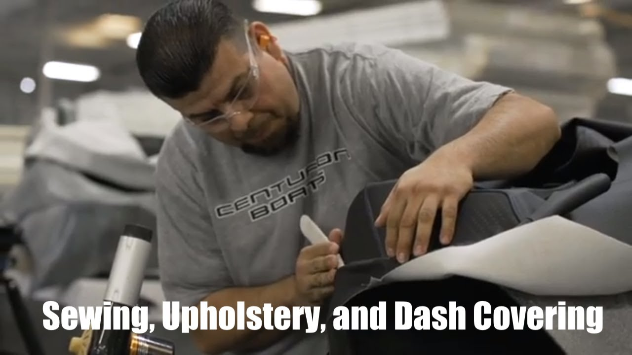 Sewing Upholstery And Dash Covering Boat Production Process Youtube