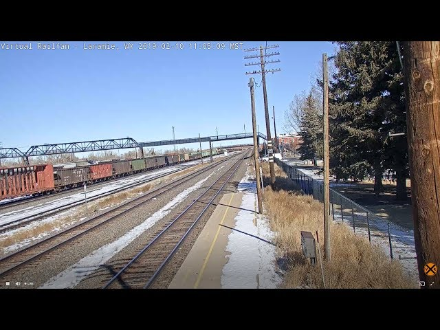 Laramie, Wyoming USA  NOTE:     CHAT ENABLED ON THE EAST CAMERA   - Virtual Railfan LIVE