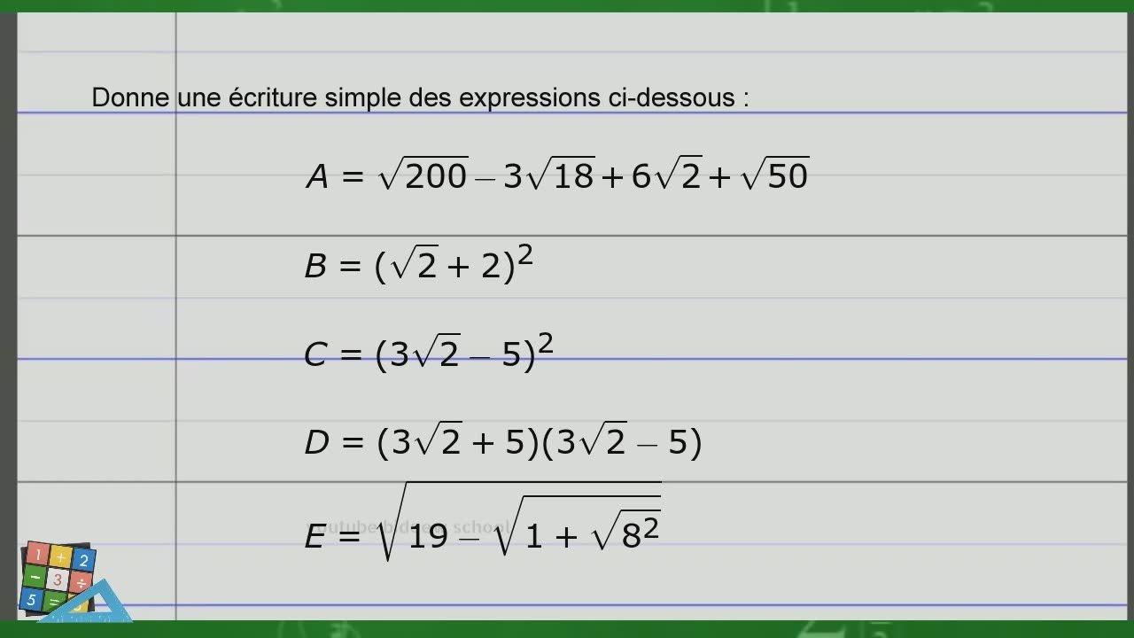 Exercice Corrige De Maths 3eme Fascicule Adem Activites Numeriques Racine Carree Youtube