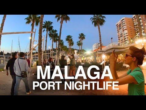 [4K] MALAGA PORT (2019) NIGHT WALKING TOUR - Cafes, Bars And Nightlife