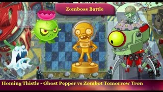Plants vs Zombies 2 - Homing Thistle Ghost Pepper vs Tomorrow Zomboss Zombot Tomorrow Tron