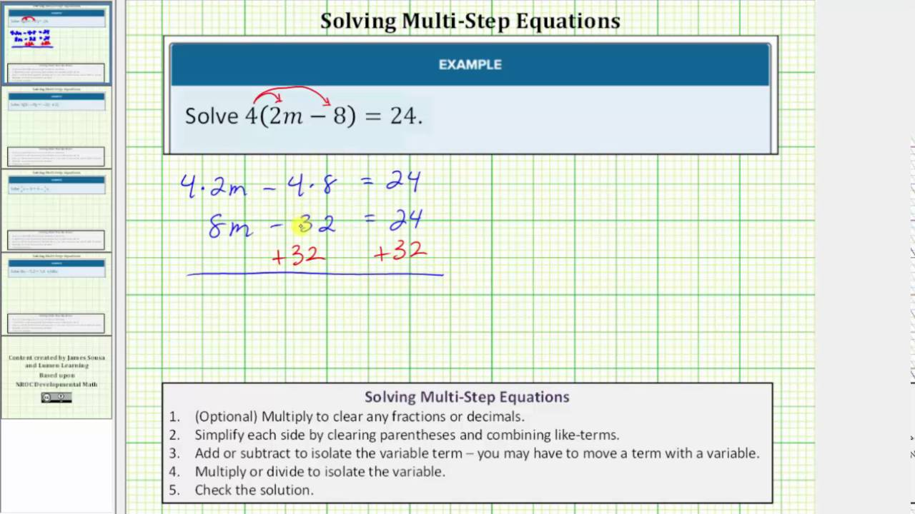Solving an Equation with One Set of Parentheses