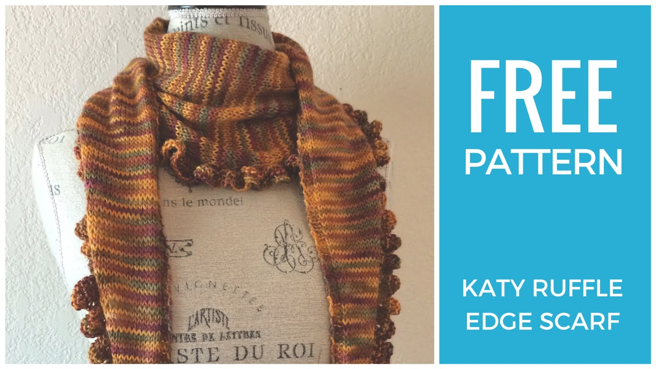 Free Knitting Pattern For Ruffled Shawl : Easy Ruffle Scarf Free Knitting Pattern - YouTube