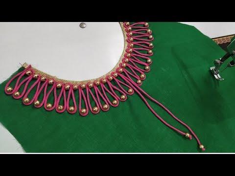 Very creative beaded design /latest boat neck design for kurti