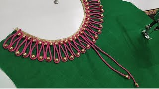 Very creative beaded design /latest boat neck design for kurti