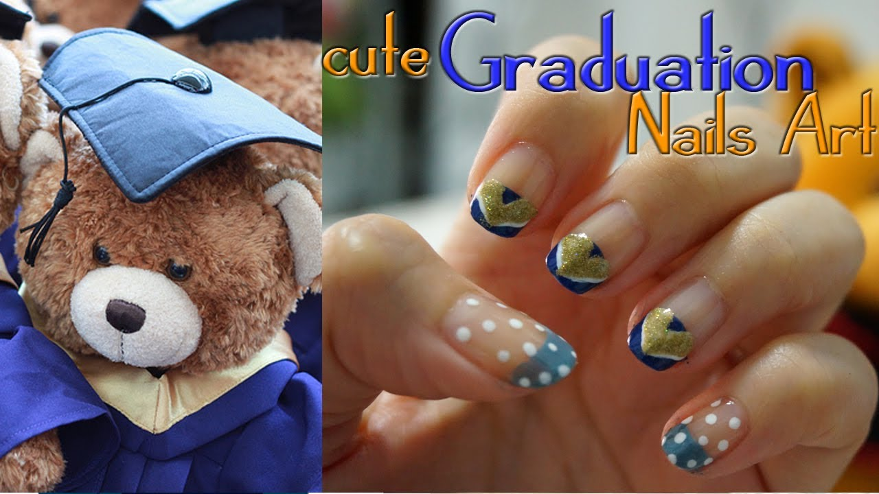 Cute Easy Graduation Nails Art Youtube
