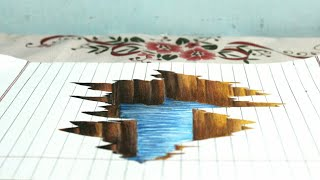 Drawing 3d Crack on line paper-Drawing hole in 3d-How to draw in 3d-Drawing 3d-How to draw a crack