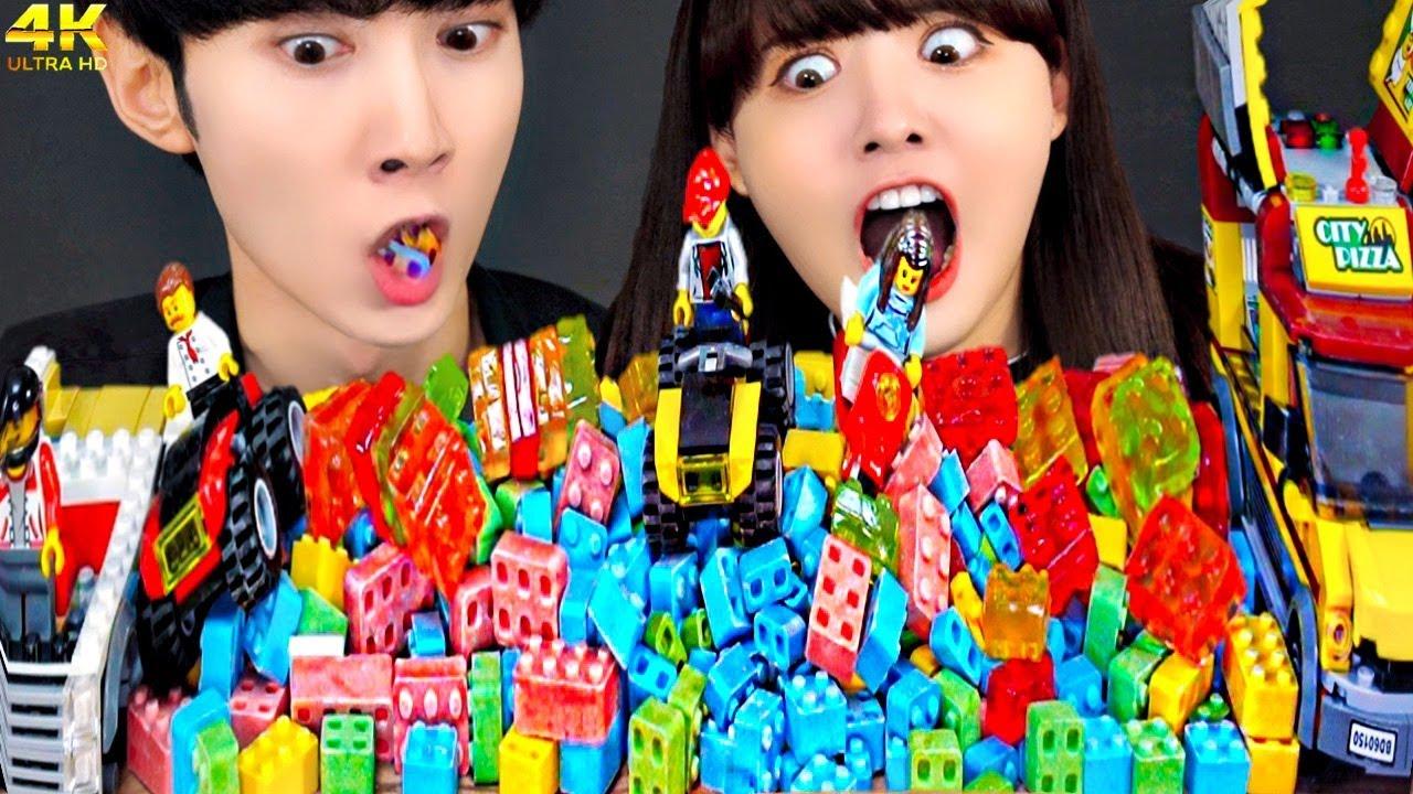 ASMR MUKBANG LEGO CANDY JELLY PARTY 레고 사탕 젤리 먹방 (feat. 옐언니) DESSERT EATING SOUNDS