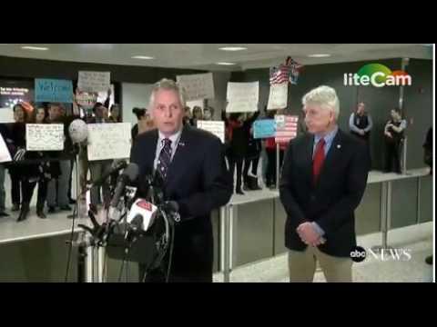 Virginia Gov. Terry McAuliffe Speaks at Dulles Against Muslim Ban (1/28/17)