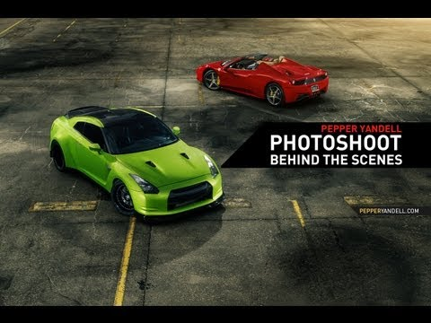 Photoshoot With Photoshop Timelapses — Ferrari 458 And GT-R Subjects.