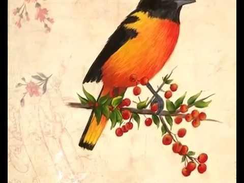 Pintura Decorativa) Como pintar un Pajaro con acrilicos sobre ...