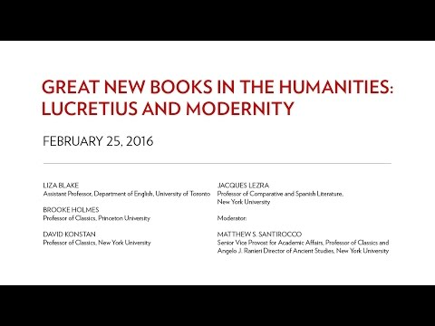 Great New Books in the Humanities: Lucretius and Modernity