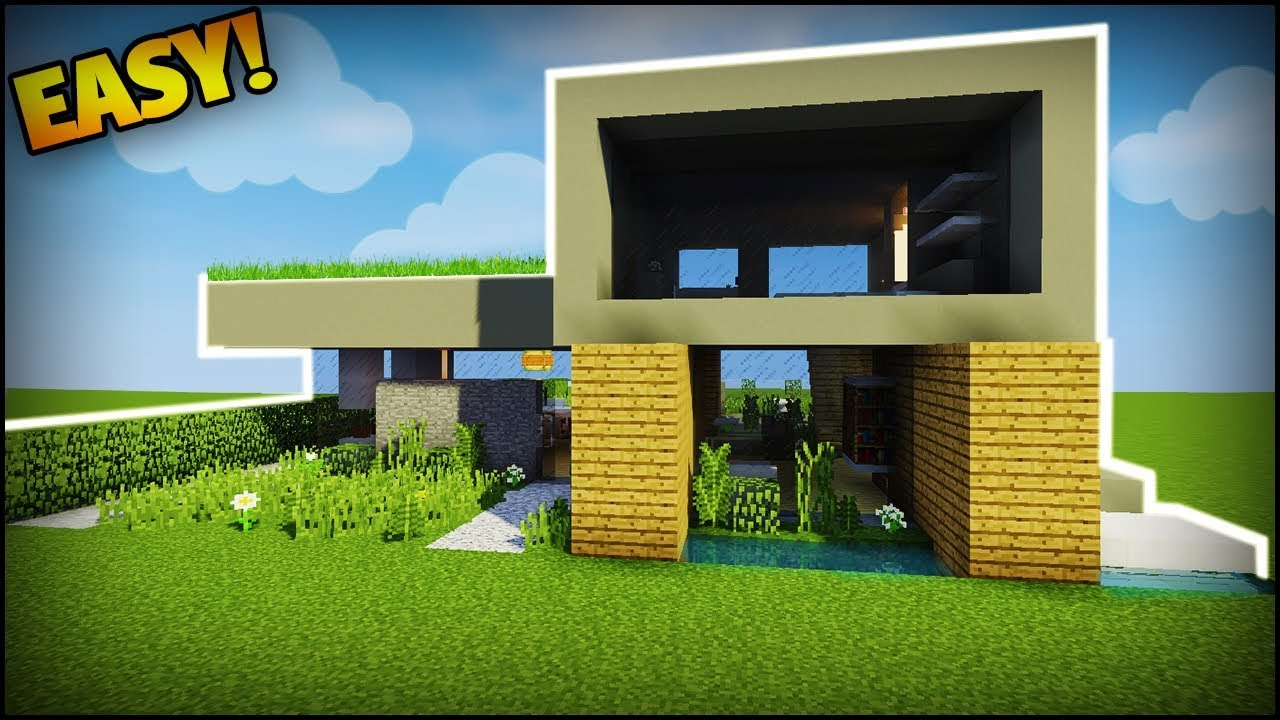 Minecraft how to build a large modern house easy for Big modern house tutorial
