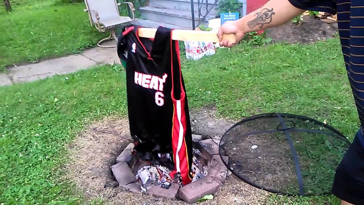 Burning Lebron James Miami Heat Jersey Youtube