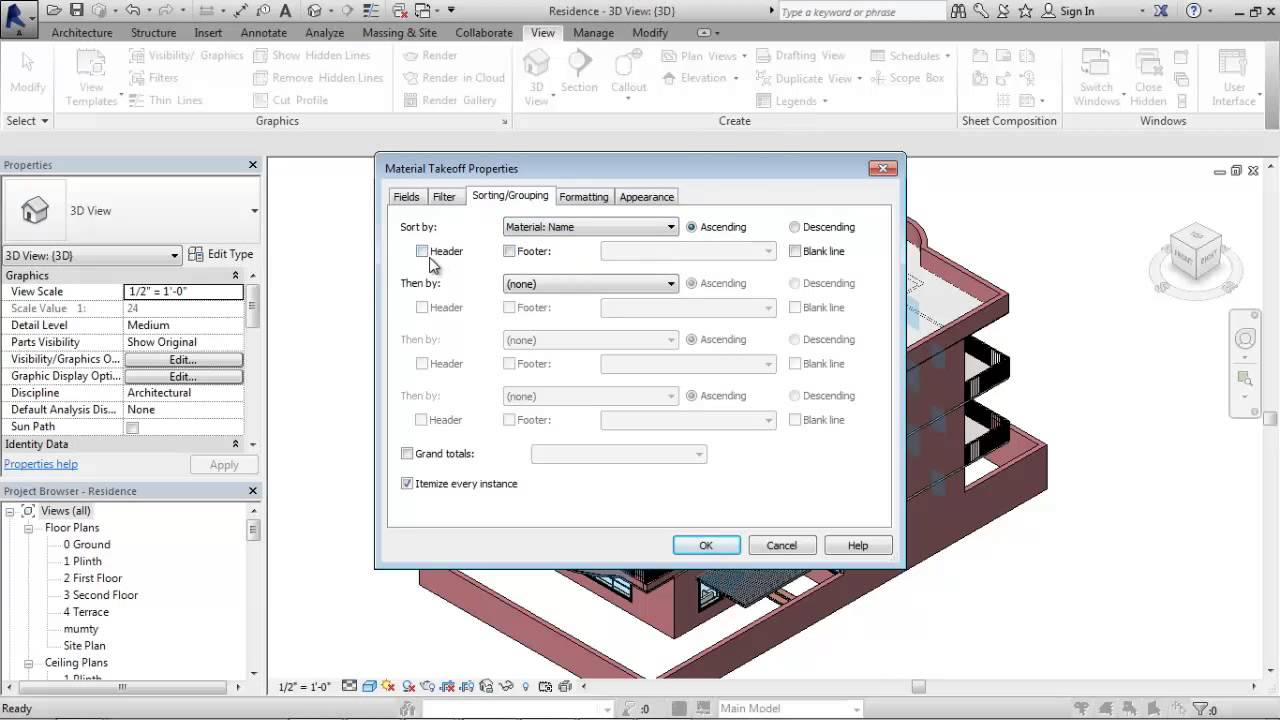Material Takeoff in Revit