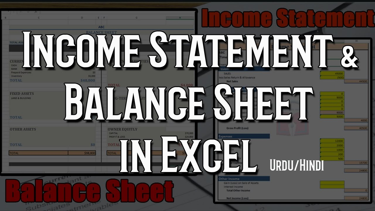 how to create income statement and balance sheet in excel automatic