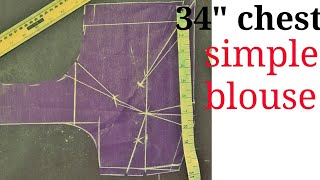 simple four darts blouse cutting in hindi by Blousrmaster""