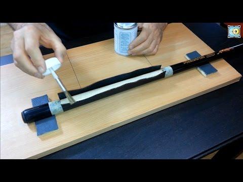 Installing a Calfskin Black Leather Wrap on a Pool Cue - Part 2 - Grip Cuir sur Predator Sport Cue