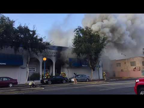 Executive Car Leasing fire (video by Huntley Woods)